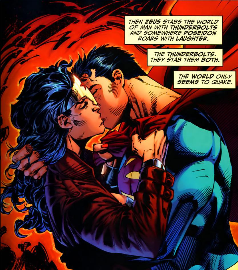 Woman batman and kissing wonder